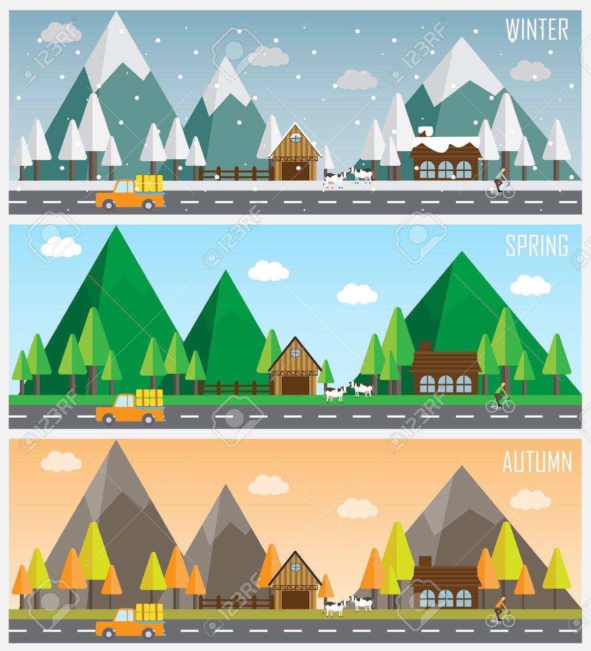 1db949f6369c Varias paisaje urbano de hermosos paisajes naturales en otro momento del  año - invierno, primavera, otoño, planeta concepto de ciclo de vida en la  ...
