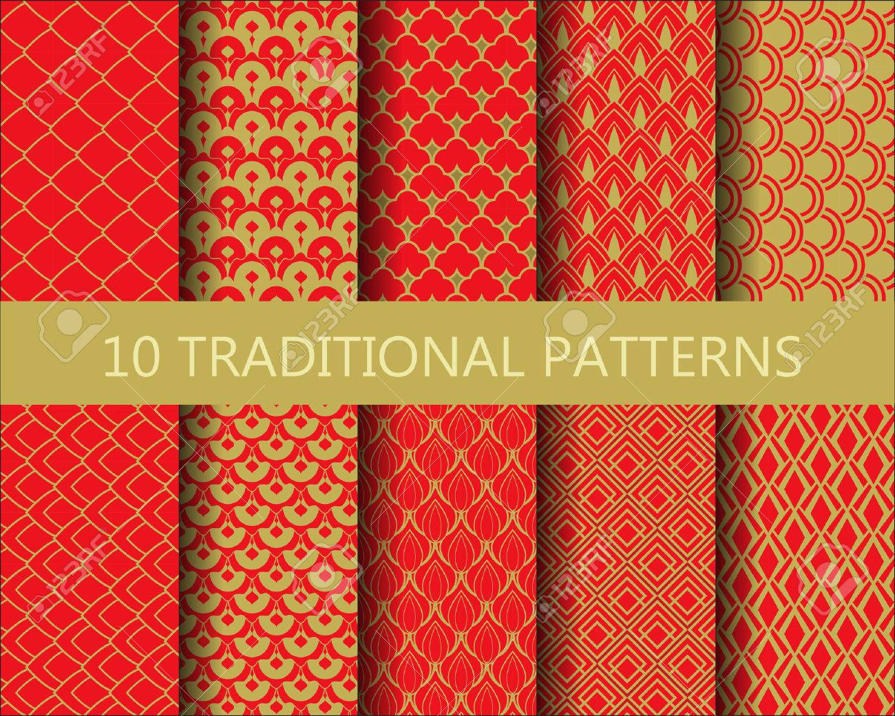 10 Différents Modèles Traditionnels Chinois Fixés. Conception Rouge Et Or,  Nuancier Pattern, Endless Texture Peut être Utilisé Pour Le Papier Peint,  ...