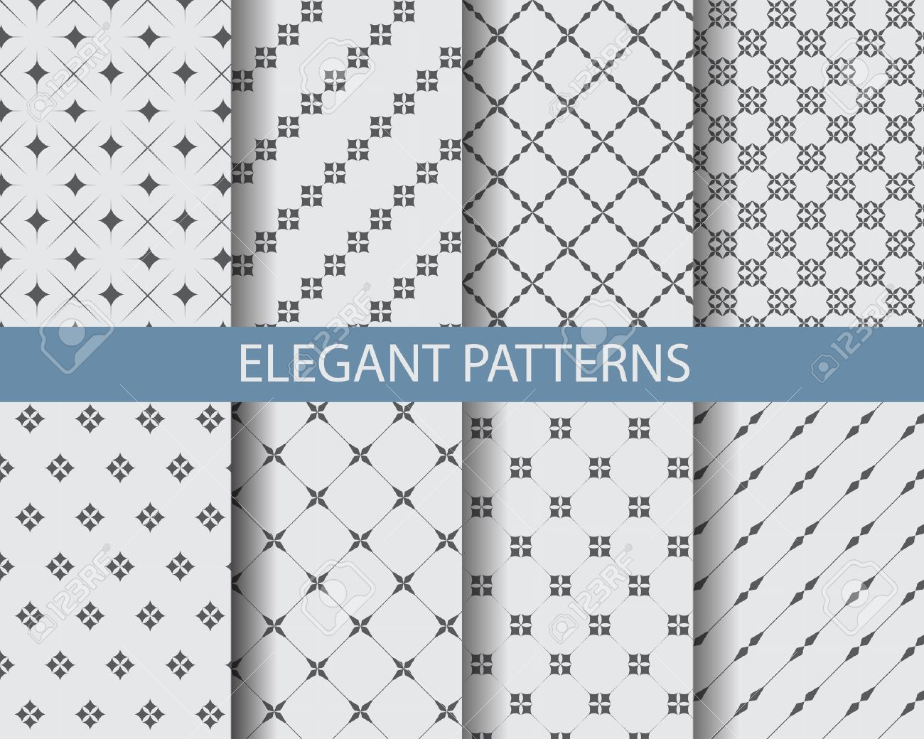 8 different classic black and white patterns endless texture can be used for wallpaper