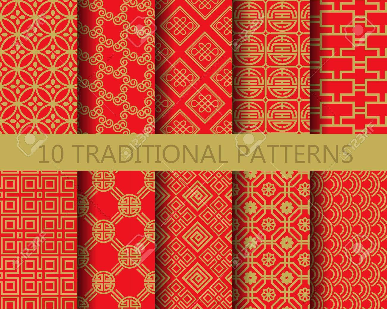 10 Modèles Vectoriels Chinois Différentes. Sans Fin Texture Peut ...