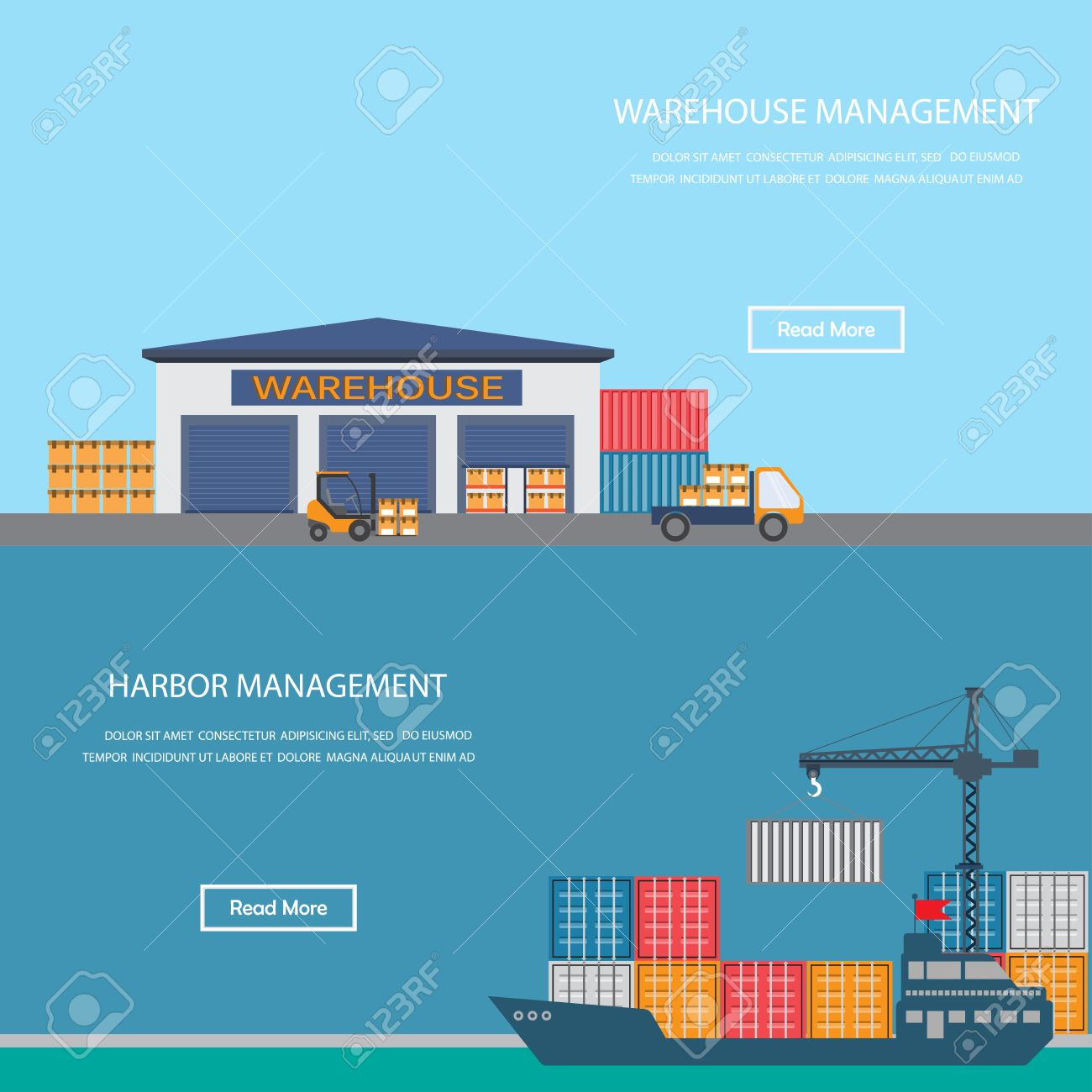 harbor and warehouse cargo industrial concept infographics