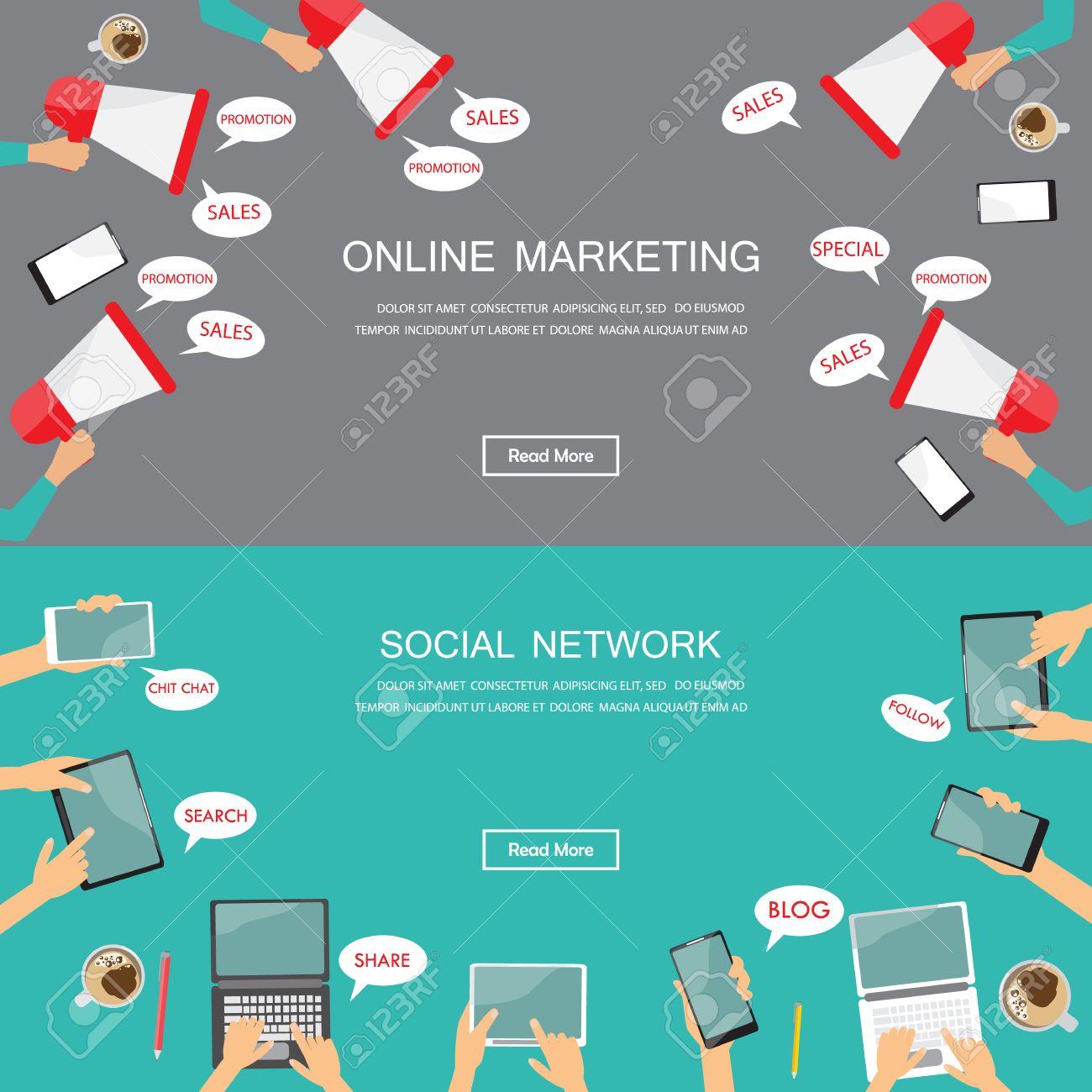 digital marketing and social media web site banner flat design