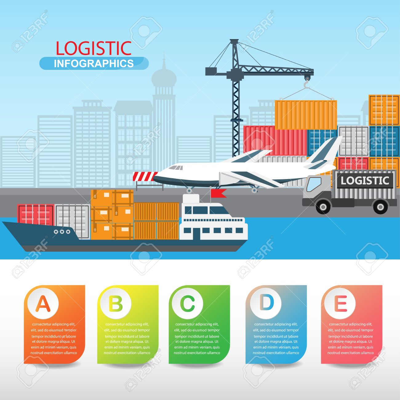 logistic infographics there are sea shipment truck and air