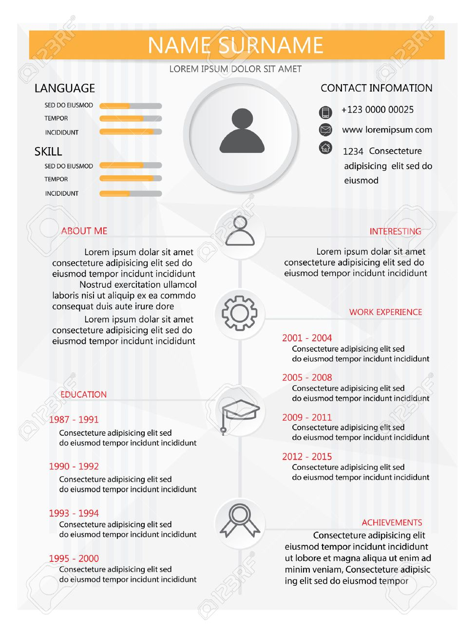 Lebenslauf Cv Vorlage Infografiken Und Hintergrundelements Kann
