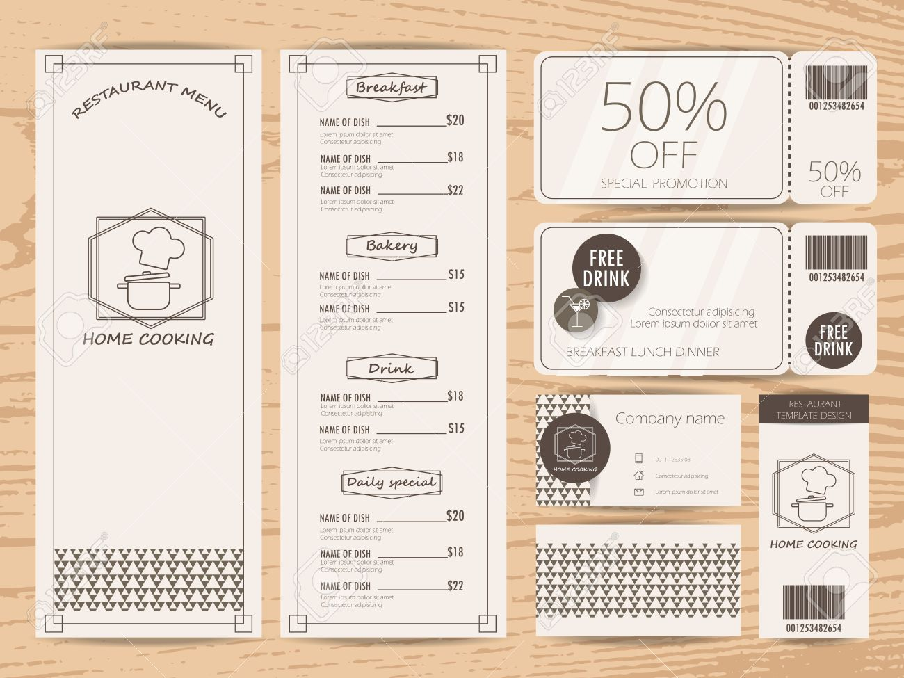 Restaurant, Bistro And Cafe Menu, Business Card, Tag And Gift ...