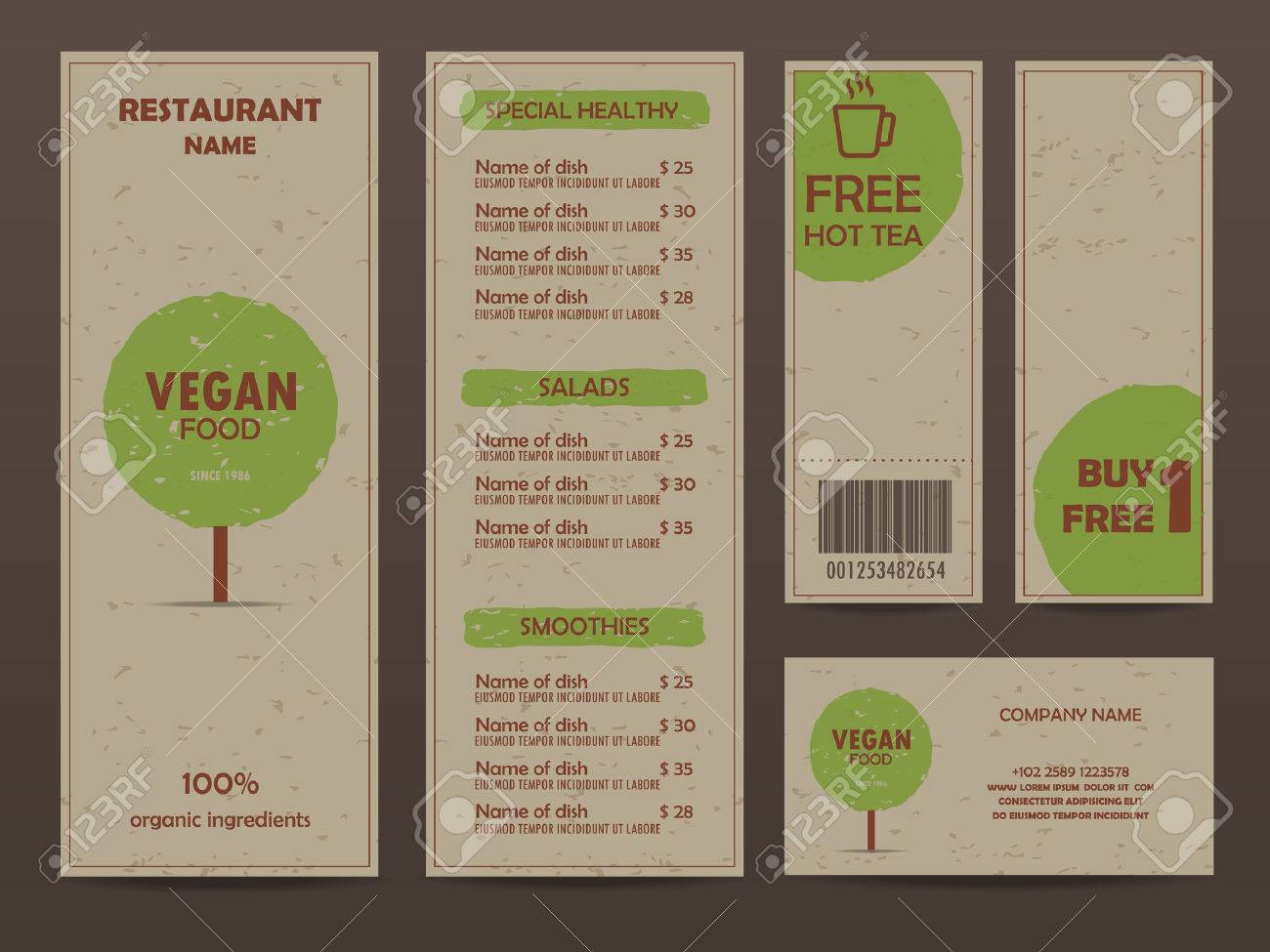 Gift Voucher Certificate Coupon Food Menu And Business Card – Restaurant Coupon Template