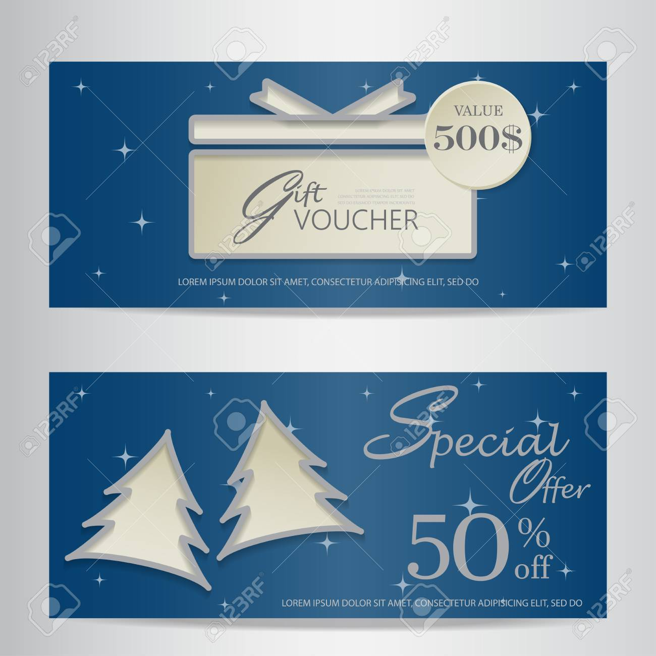blue christmas and new year gift voucher certificate coupon template