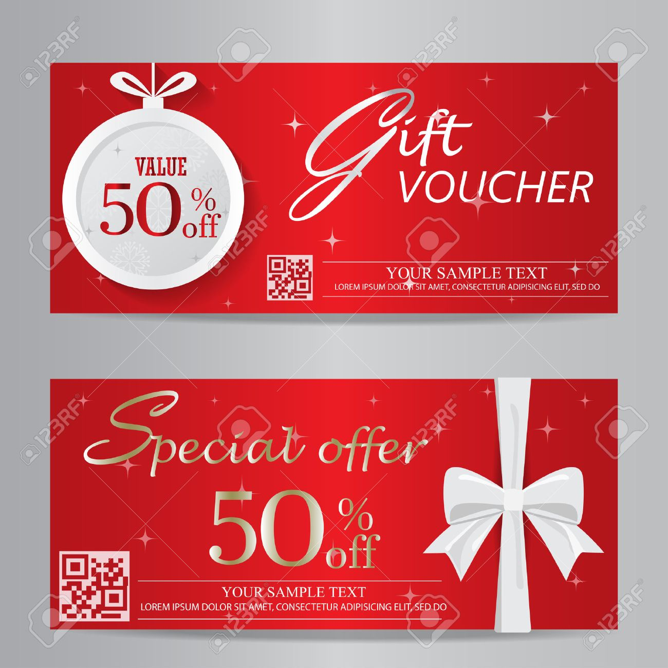 red christmas and new year gift voucher certificate coupon template. can be use for business shopping card, customer sale and promotion, layout, banner, web design. vector illustration - 45947197