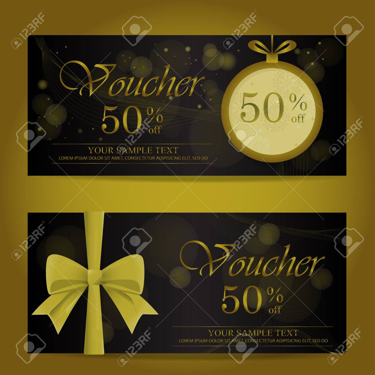 Gold And Black Christmas And New Year Gift Voucher Certificate ...