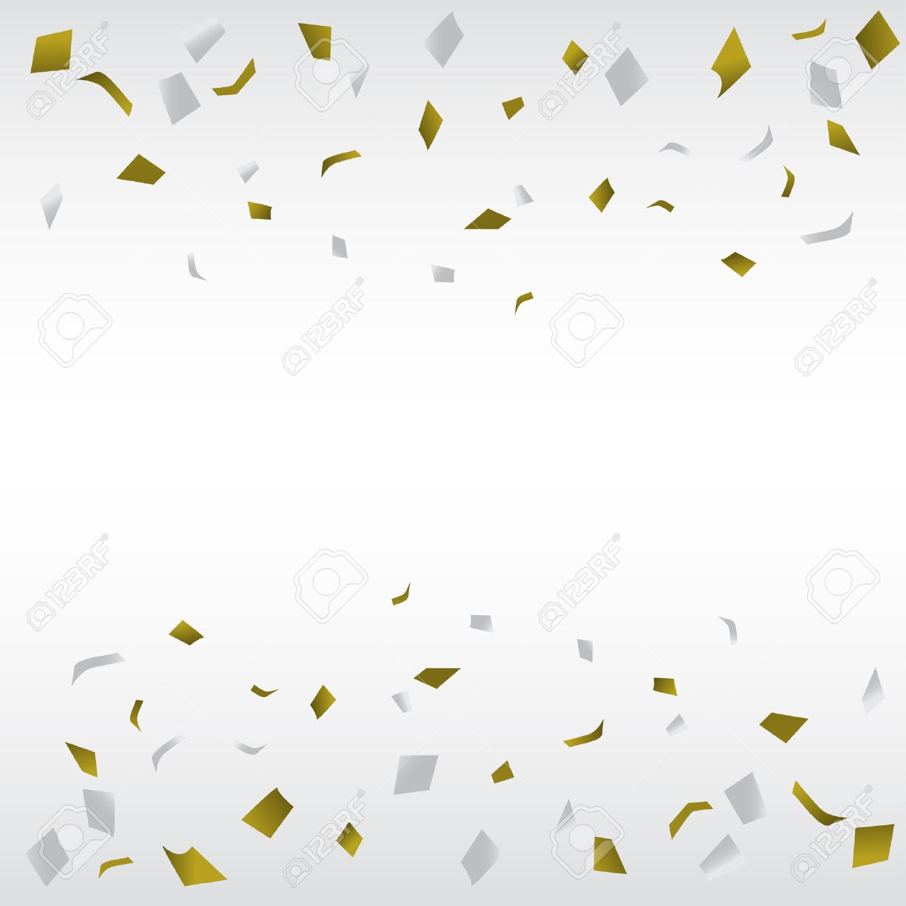 gold and silver confetti background, can be ues for celebration, new year, birthday, christmas greeting card. also design for web page, business banner, cover page. vector illustration - 47391022