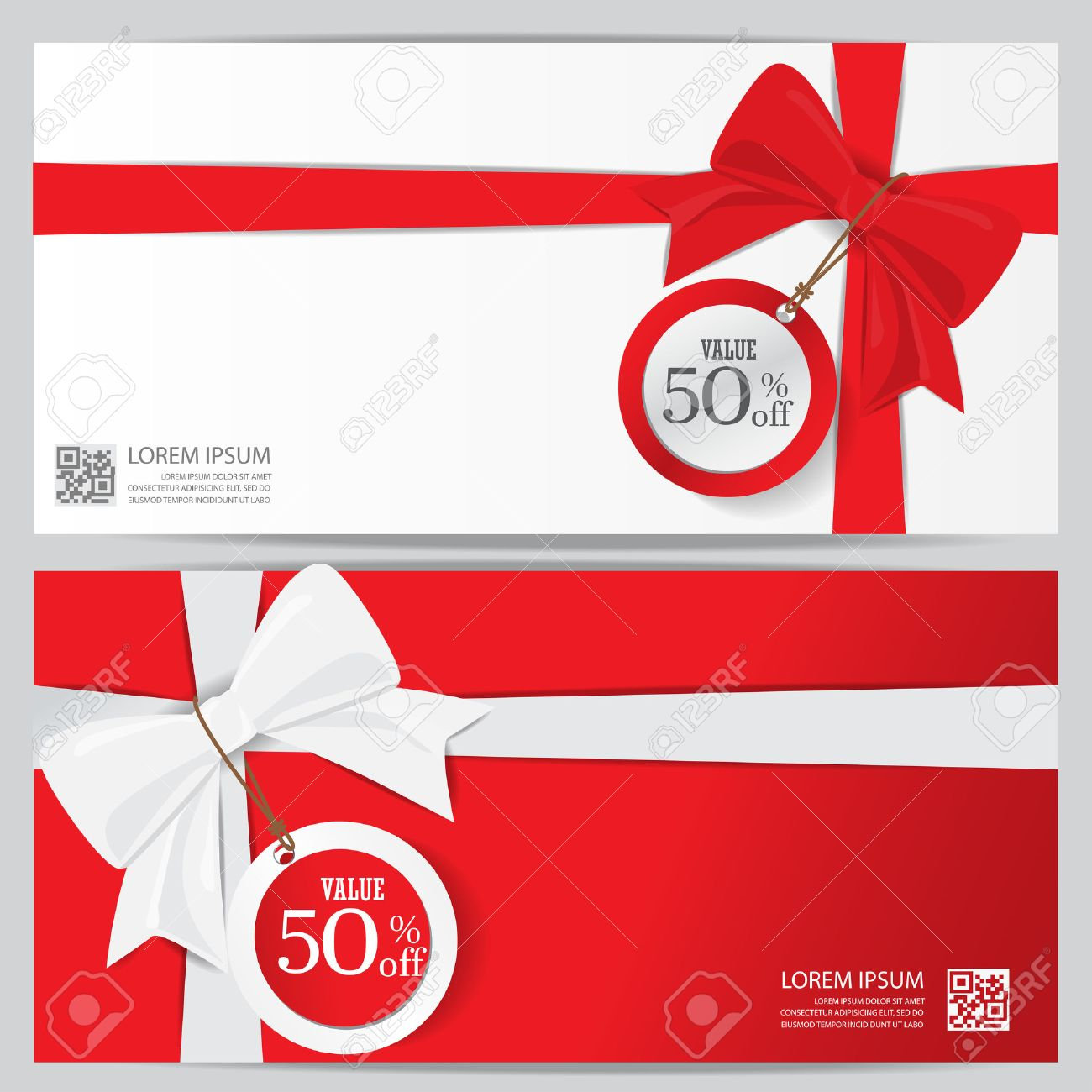 christmas holiday and new year gift voucher certificate coupon template. can be use for business shopping card, customer sale and promotion, layout, banner, web design. vector illustration - 47885981