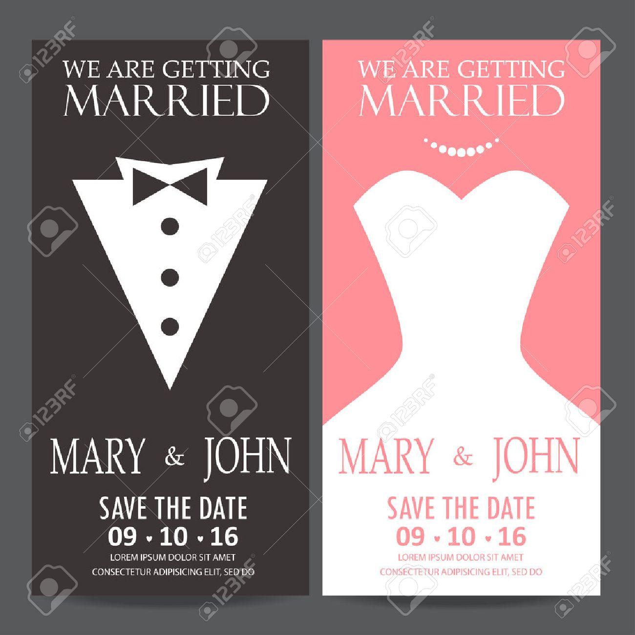 Wedding Invitation Card, Bride And Groom Dress Concept. Love ...