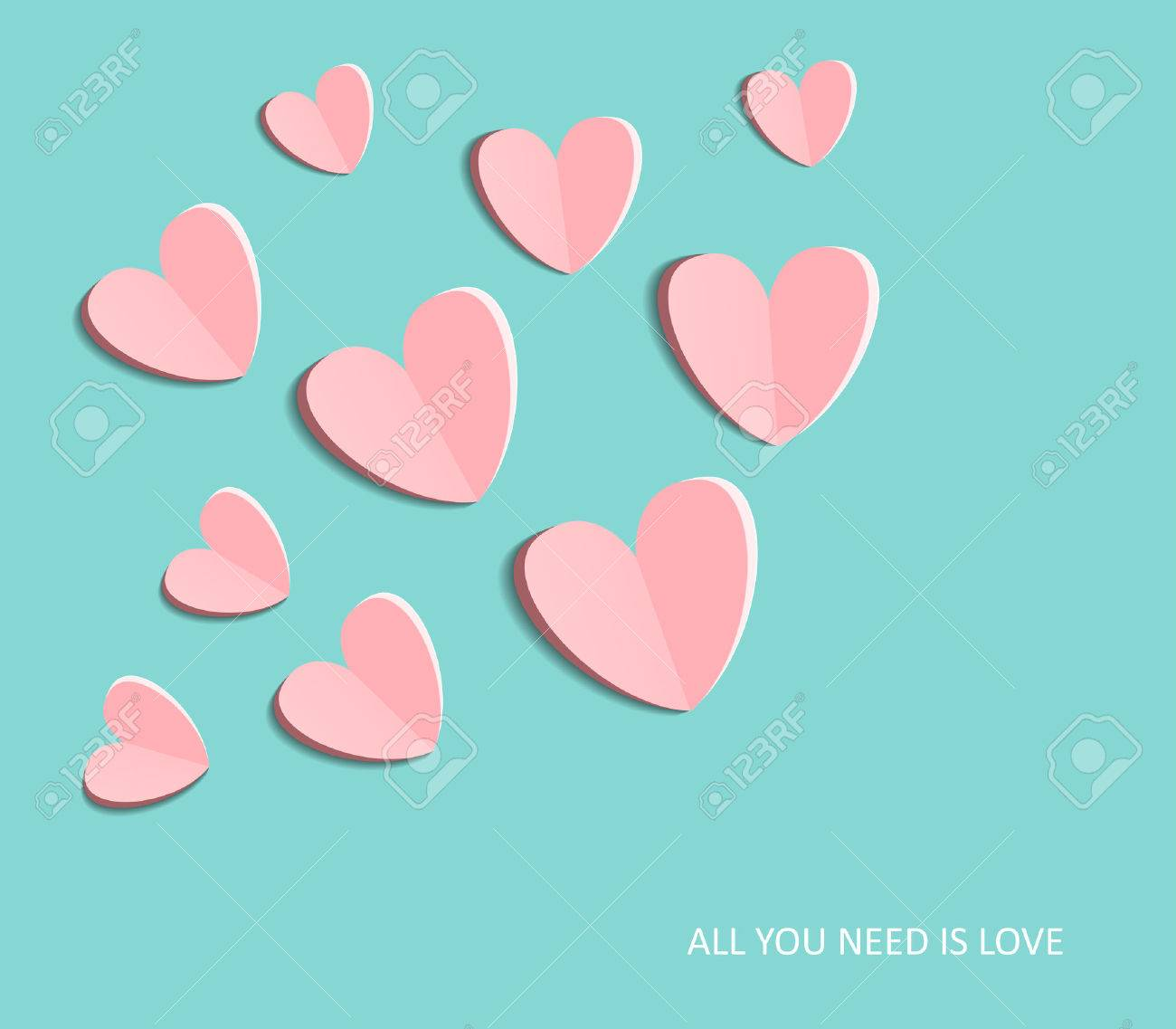 Symbol of love on sweet blue background, greeting card, Flat design Happy Valentines. can be add text. vector illustration - 48758295