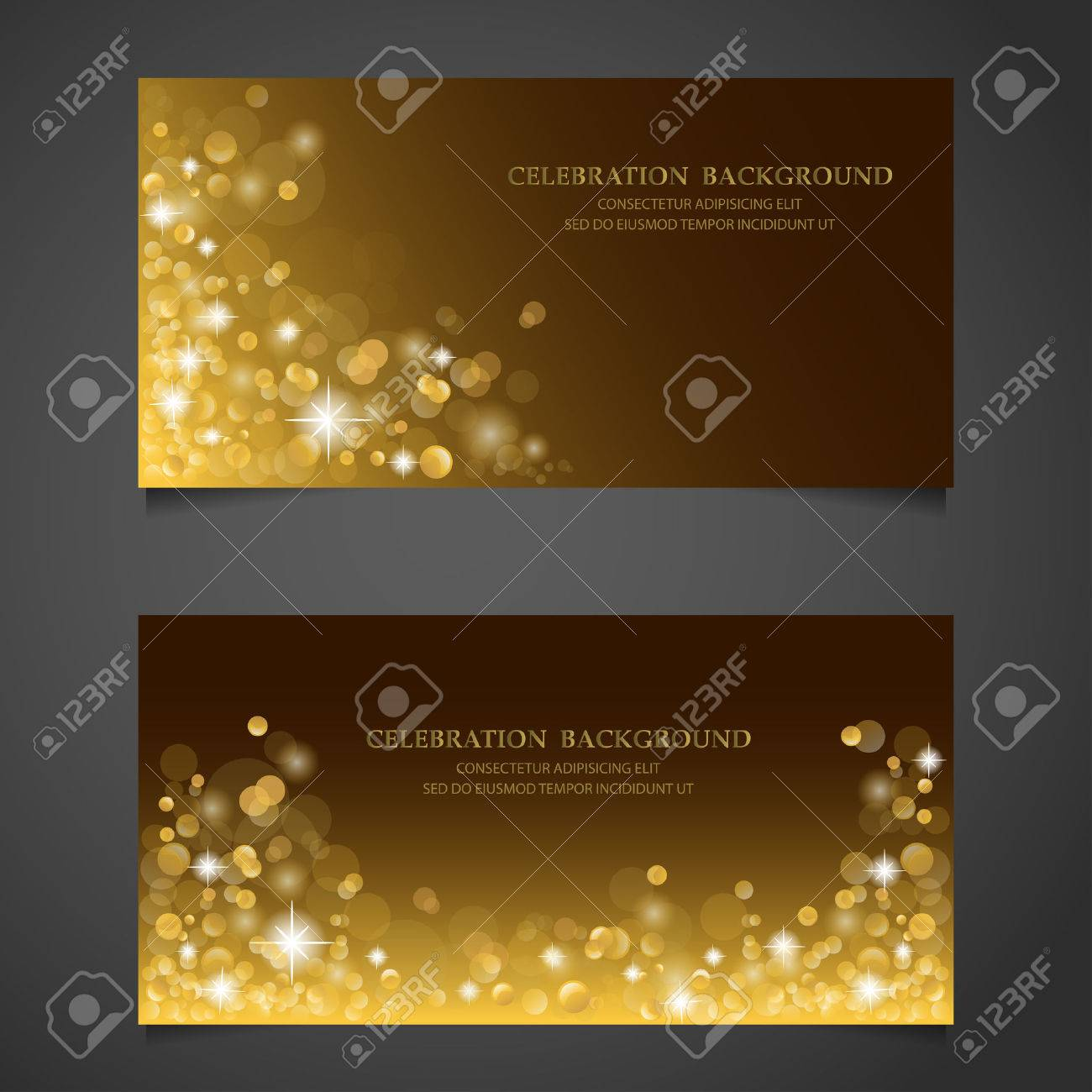 Golden sparkles banner set. background, premium concept. gift voucher certificate coupon. web design. vector illustration - 48758299