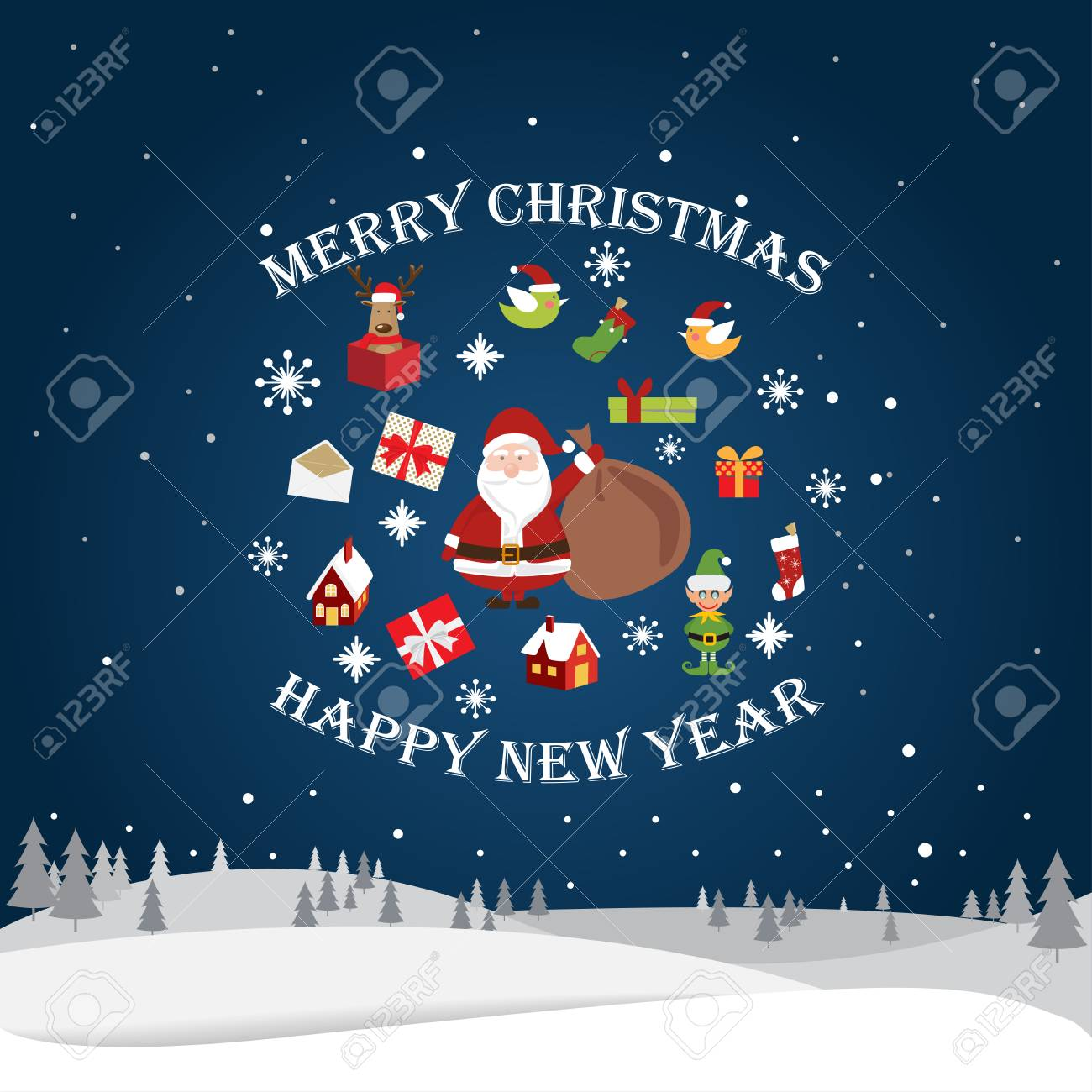 greeting card christmas and new year card vector and illustration can be use for