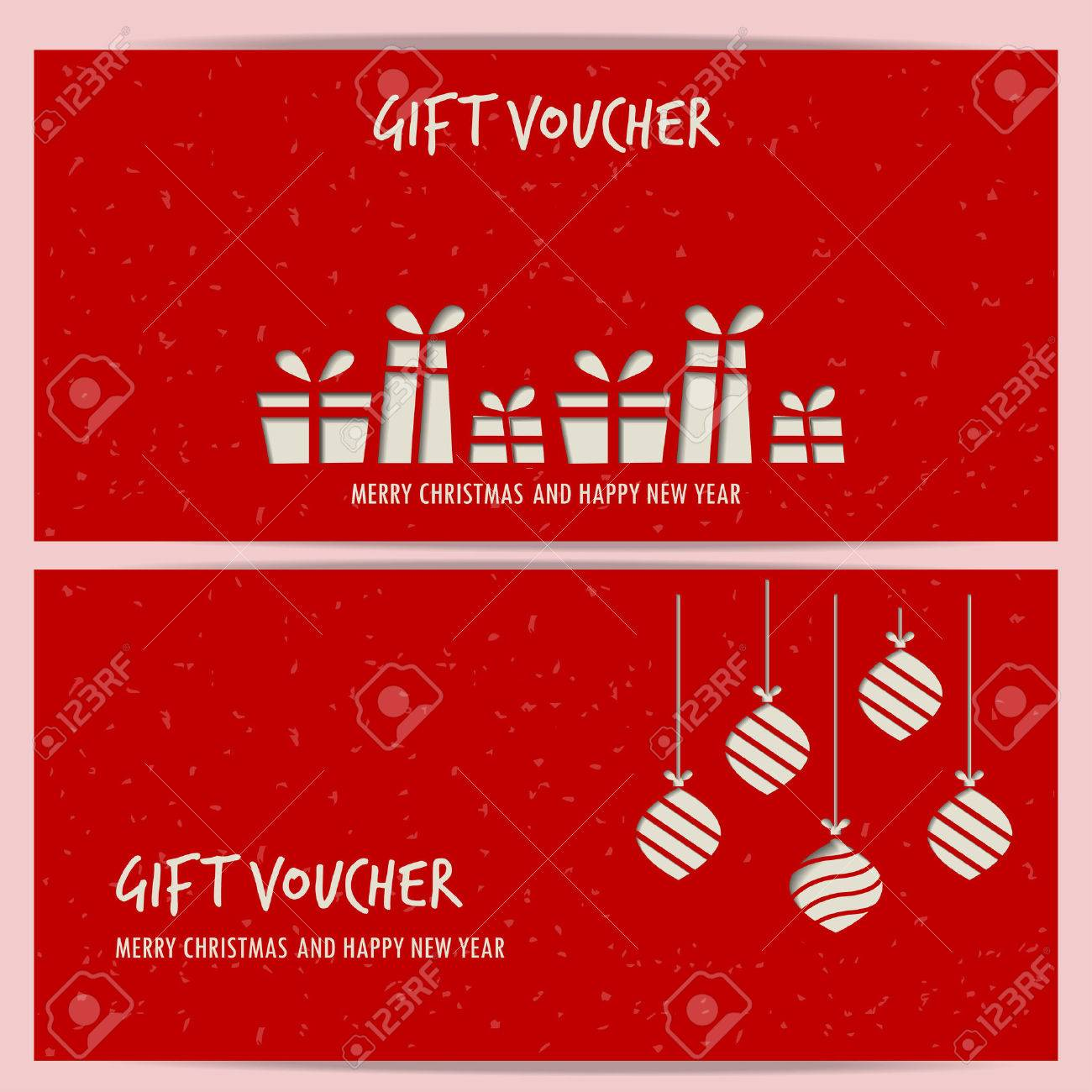christmas and new year gift voucher certificate coupon template. can be use for business shopping card, customer sale and promotion, layout, banner, web design. vector illustration - 48758340