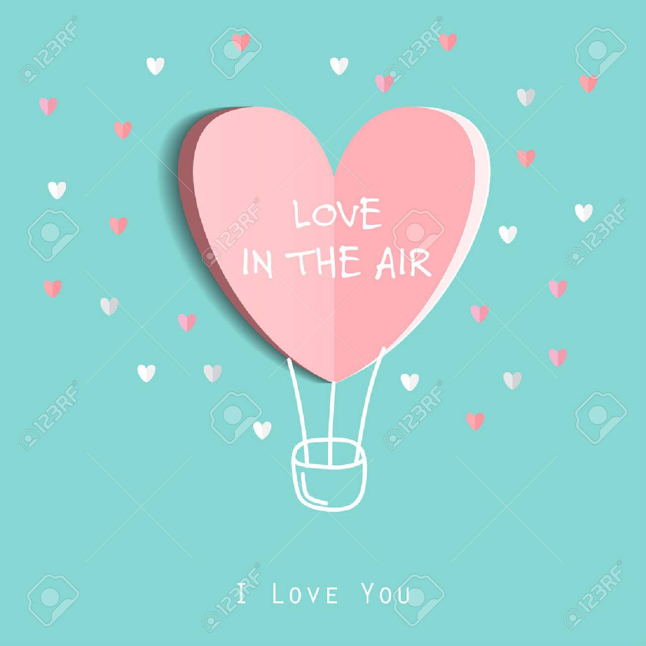 Symbol Of Love On Sweet Blue Background Greeting Card Flat