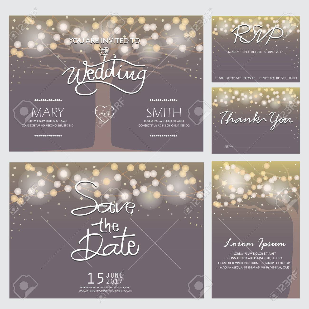 wedding invitation, RSVP, and Thank you card templates,light and tree concept. can be use for party invitation, banner, web page design element or holiday greeting card. vector illustration - 51916906