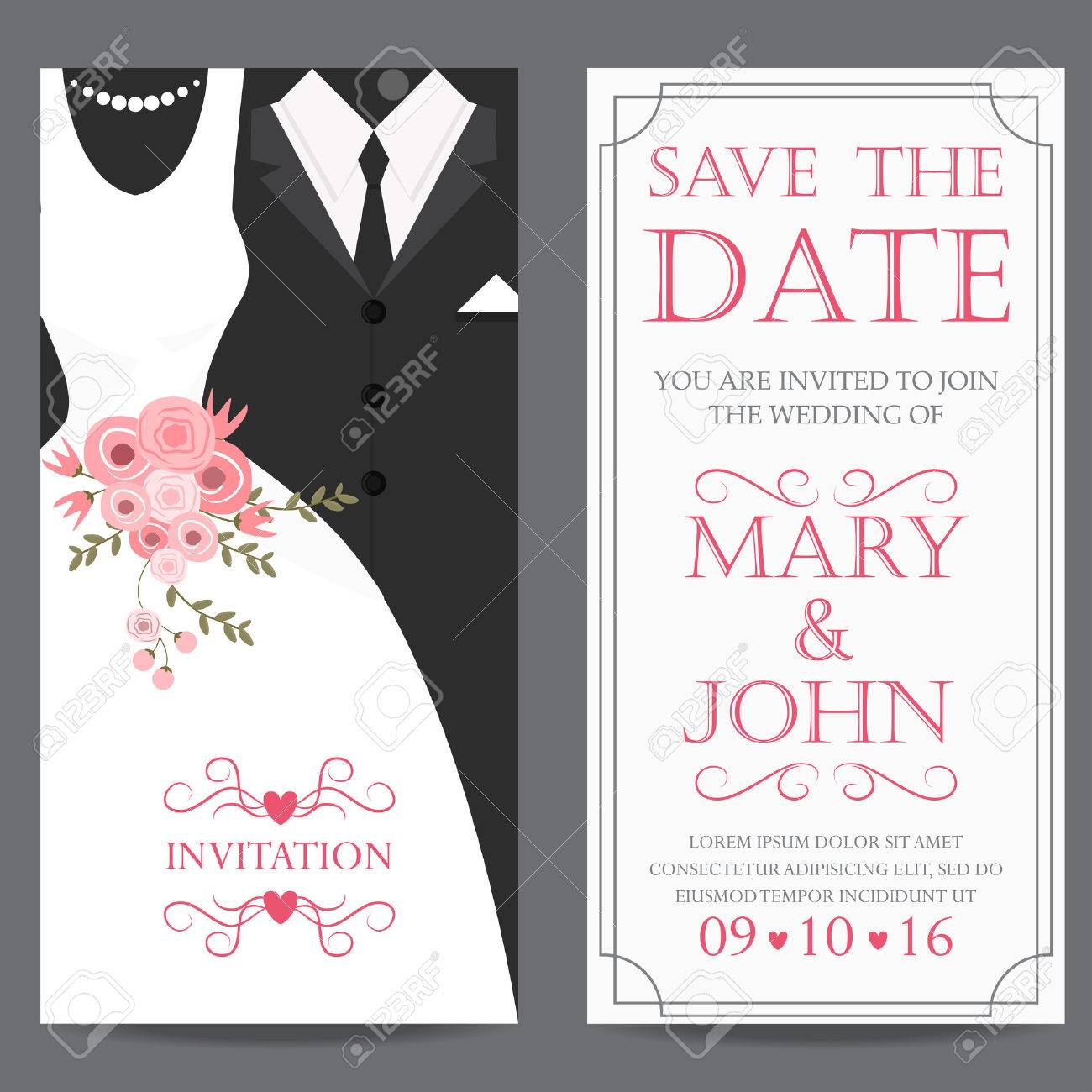 Wedding Invitation Card Bride And Groom Dress Concept Love