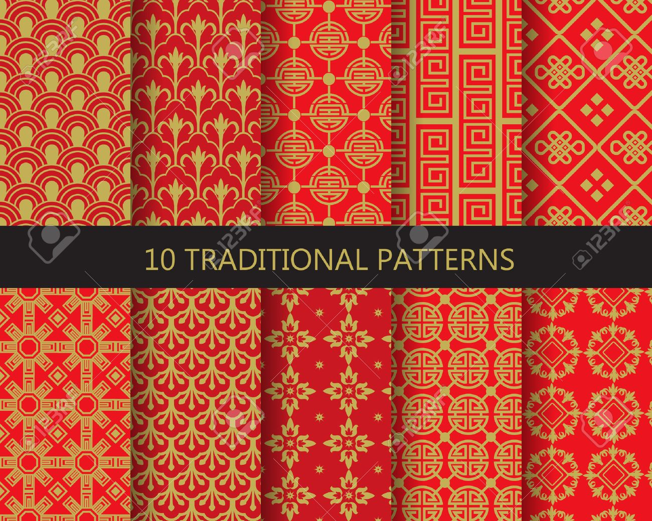 10 Different Traditional Chinese Patterns Endless Texture Can Be Used For Wallpaper Pattern Fills