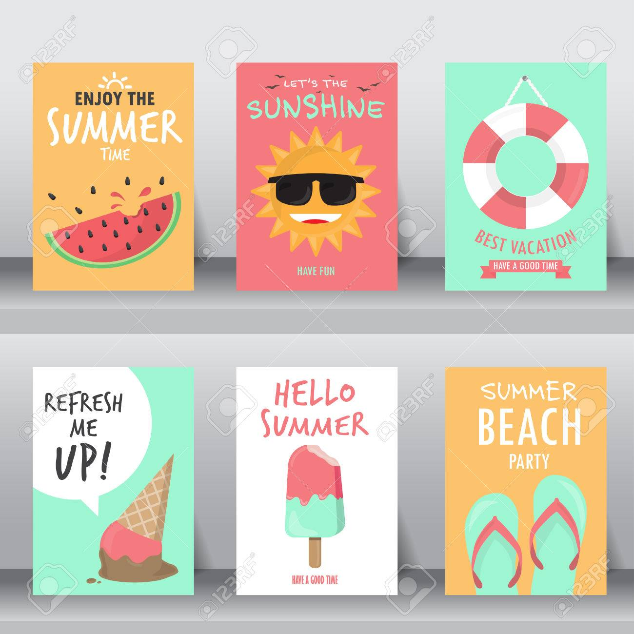 summer, holiday, vacation poster set. can be use for greeting and invitation card. background , backdrop. flat design. vector illustration - 53611176