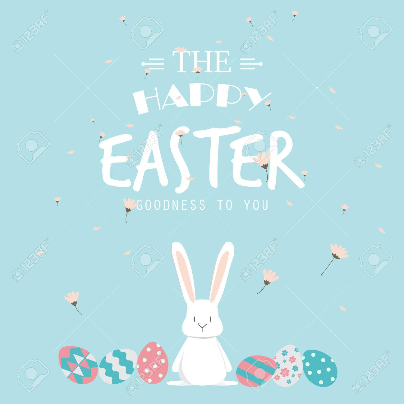 Happy easter day. cute bunny Ears with eggs and text logo on sweet blue background, can be use for greeting card, text can be added. vector illustration - 53611177