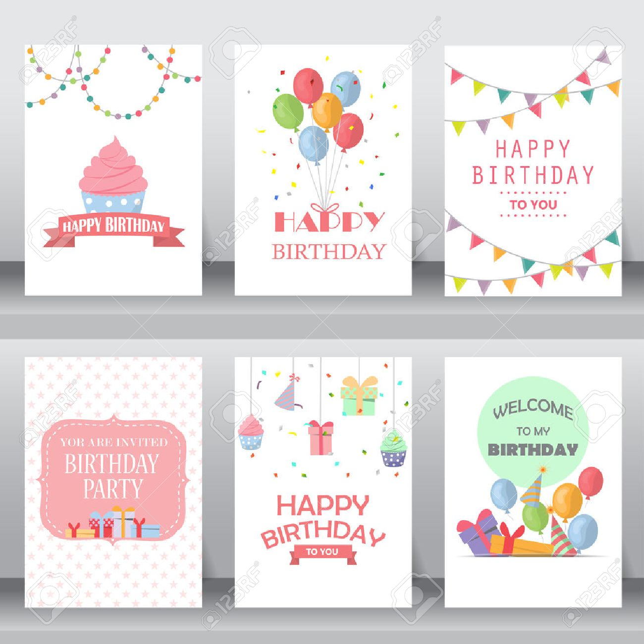 happy birthday, holiday, christmas greeting and invitation card. there are balloon, gift boxes, confetti, cup cake. layout template in A4 size. vector illustration - 53611189