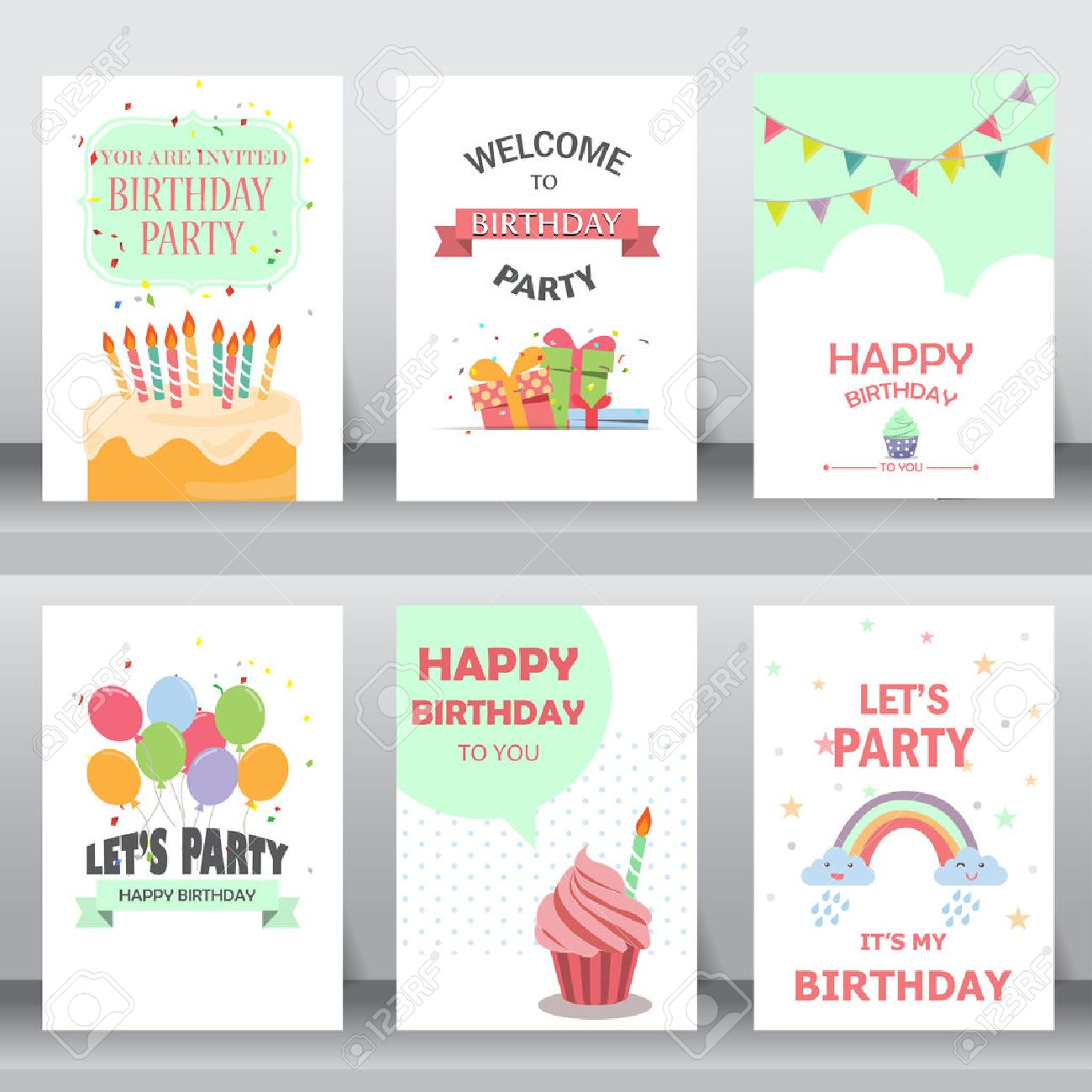 Feliz Cumpleaños Fiesta Saludo De Navidad Y La Tarjeta De Invitación Hay Globos Cajas De Regalo Confeti Torta De La Plantilla De Diseño De