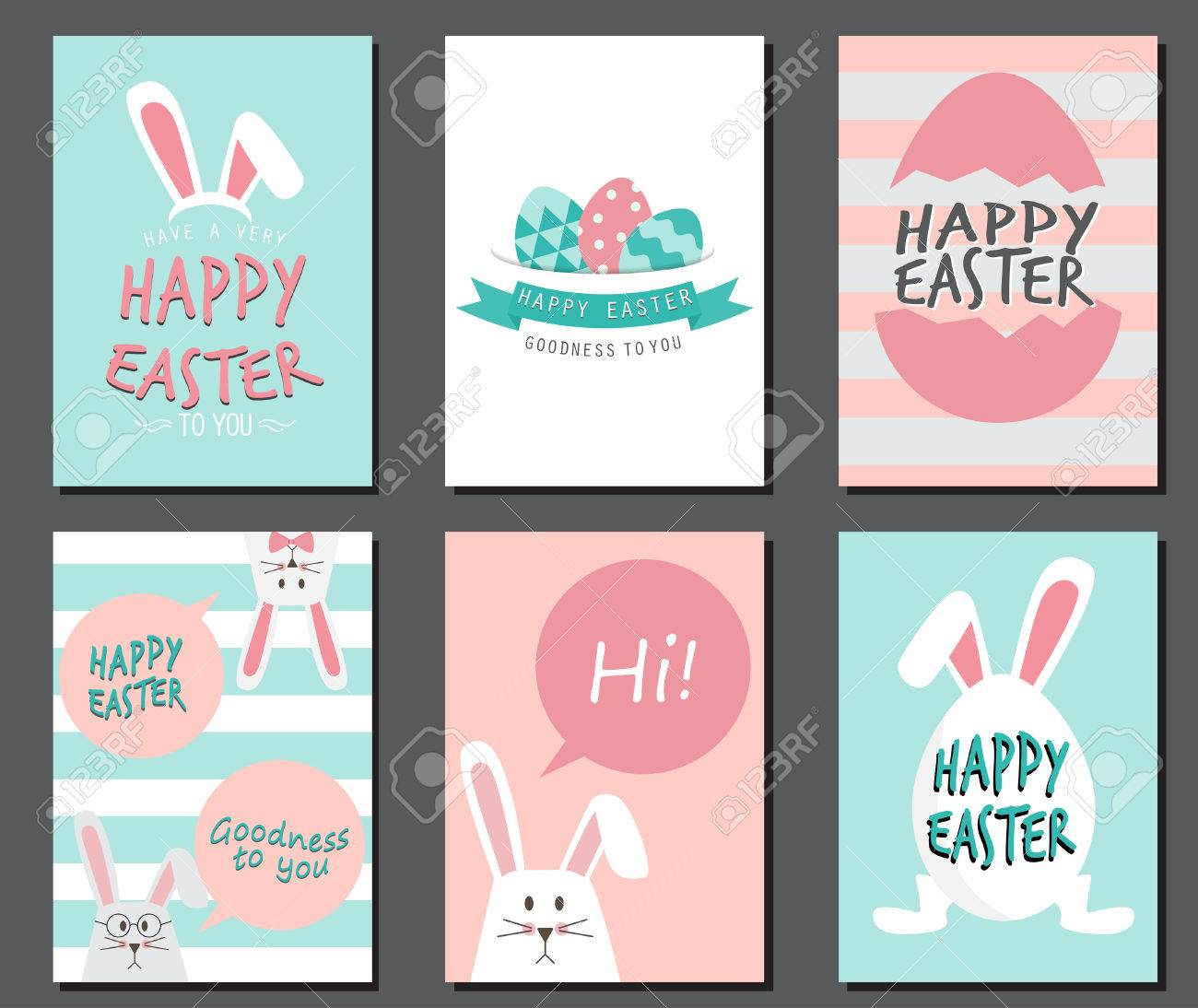 Happy easter day. cute bunny Ears with eggs and text logo on sweet blue background, can be use for greeting card, text can be added. layout template in A4 size. vector illustration - 53611236