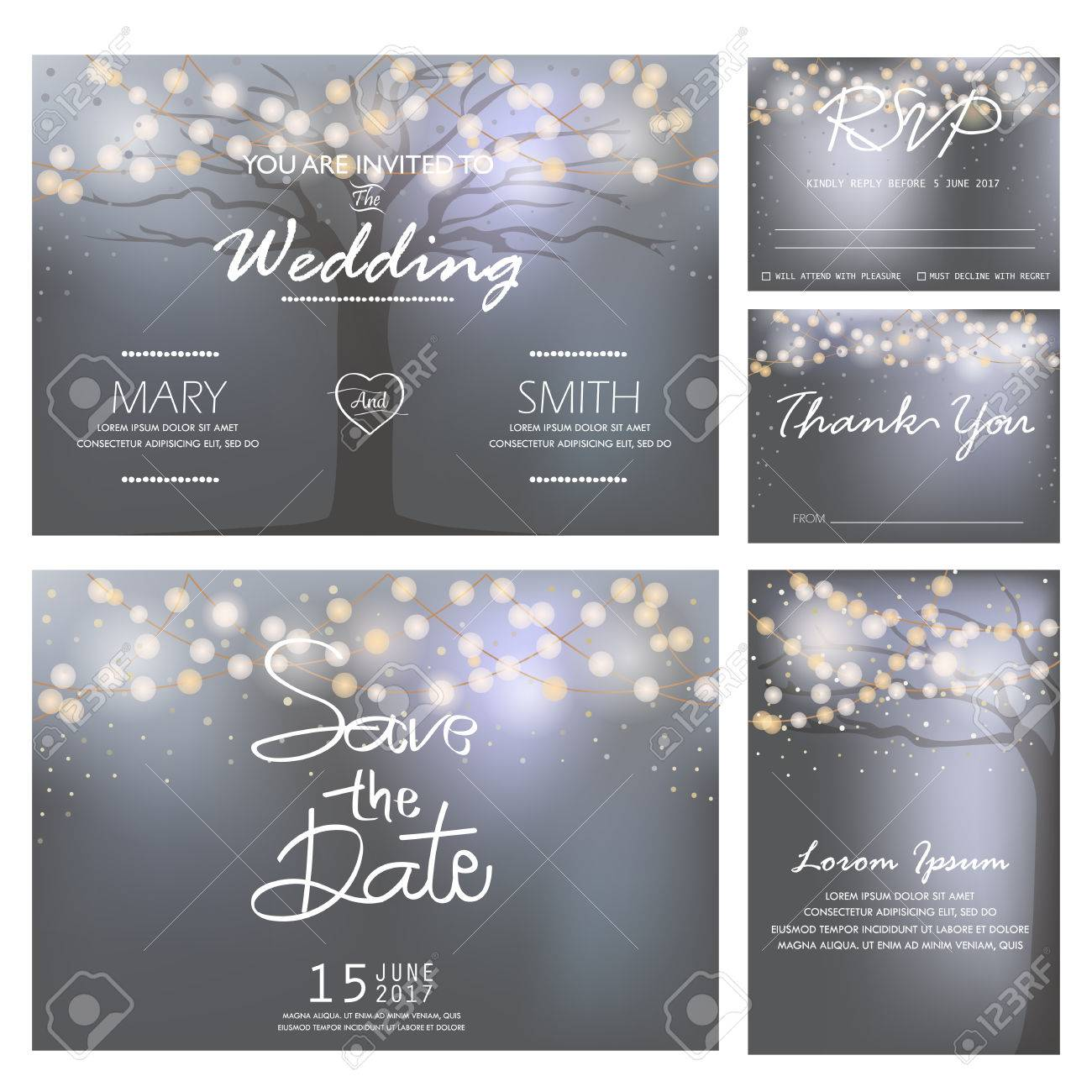 wedding invitation, RSVP, and Thank you card templates,light and tree concept. - 53611247