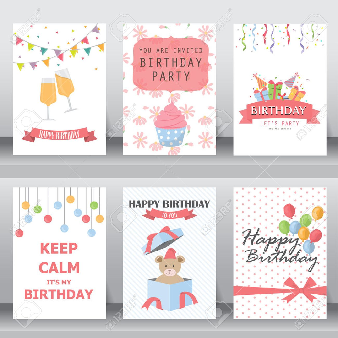 happy birthday, holiday, christmas greeting and invitation card. there are balloon, gift boxes, confetti, cup cake, teddy bear. layout template in A4 size. vector illustration - 53611468