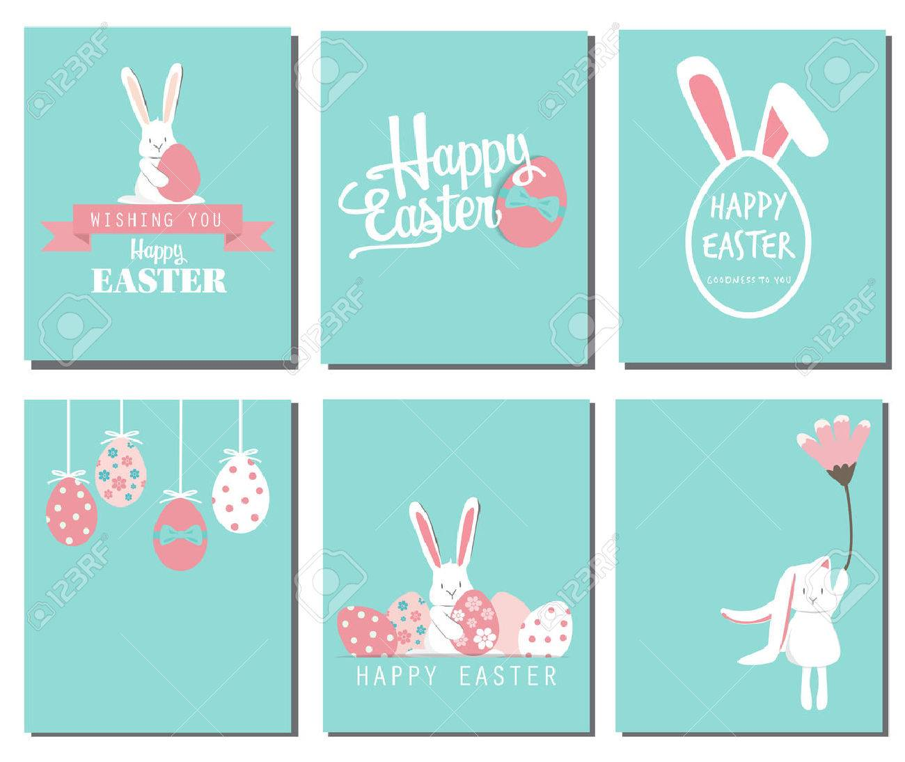 Happy easter day. cute bunny Ears with eggs and text logo on sweet blue background, can be use for greeting card, text can be added. - 53611504