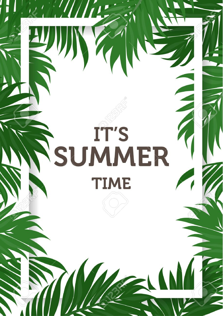 summer background, coconut and palm leaves and nature concept. can be use for greeting card, wedding invitation card, can be add text. vector illustration - 53611668