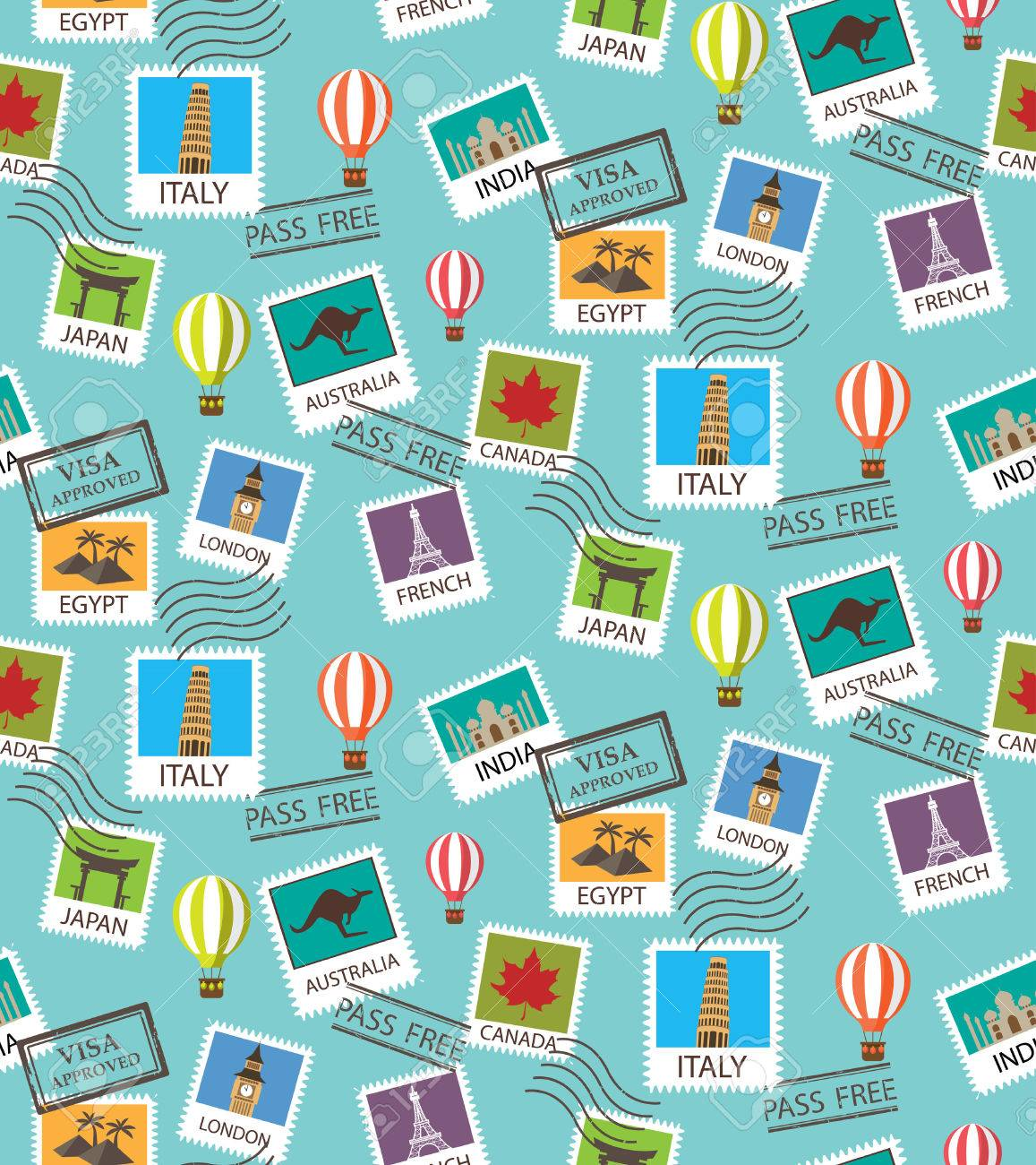 world Travel and famous tourism locations seamless pattern - 53611784