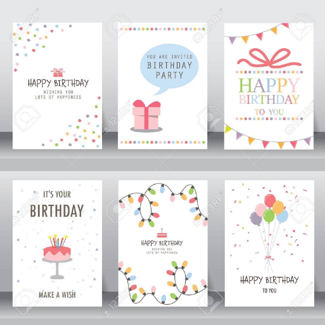 happy birthday, holiday, christmas greeting and invitation card. there are typography, gift boxes, confetti, cake and teddy bear. layout template in A4 size. vector illustration - 54279831