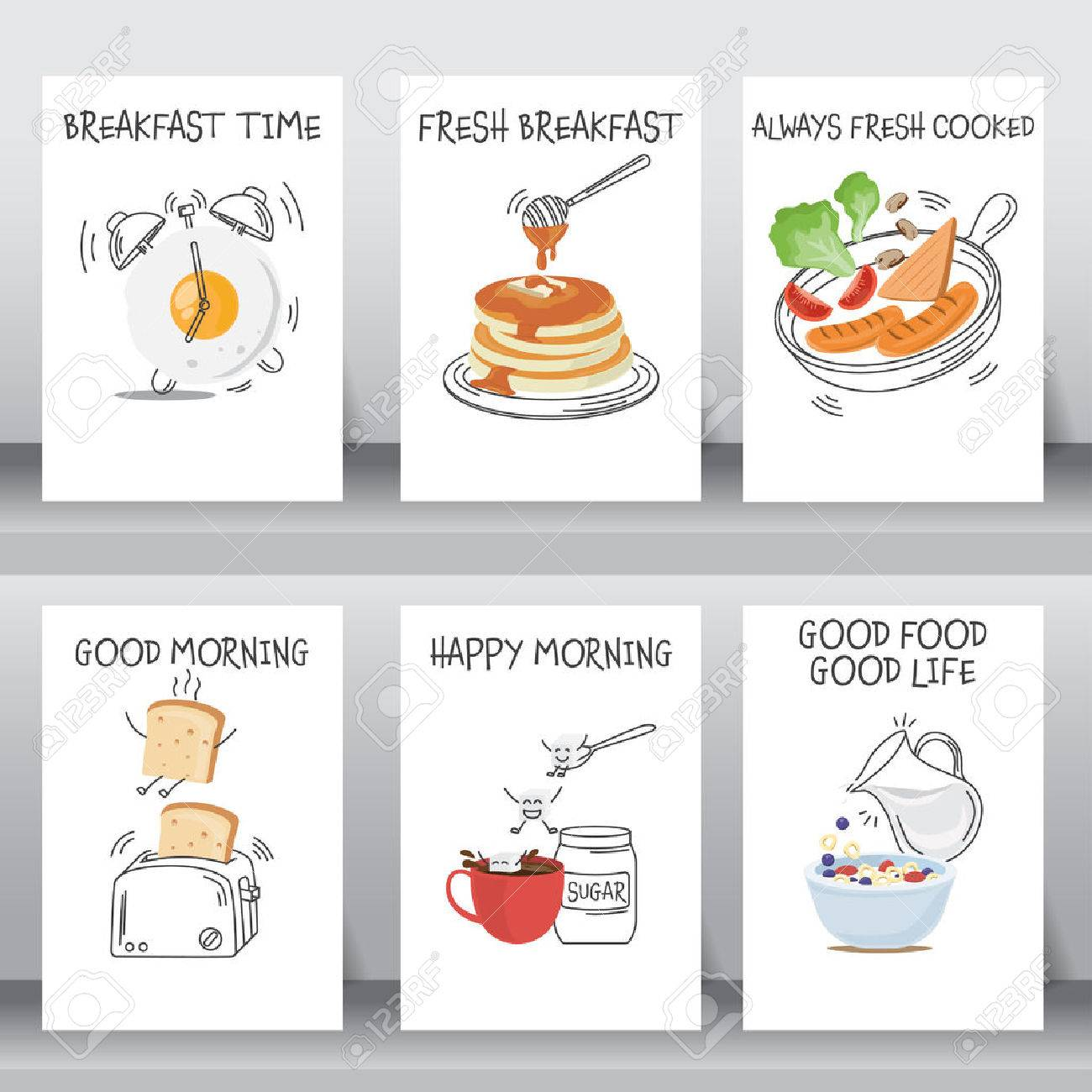 funny breakfast Posters and background set. flat and doodle design. there are egg, coffee , cereal with milk, pancake, bread, vegetable and hotdog layout template in A4 size. vector illustration. - 54795280