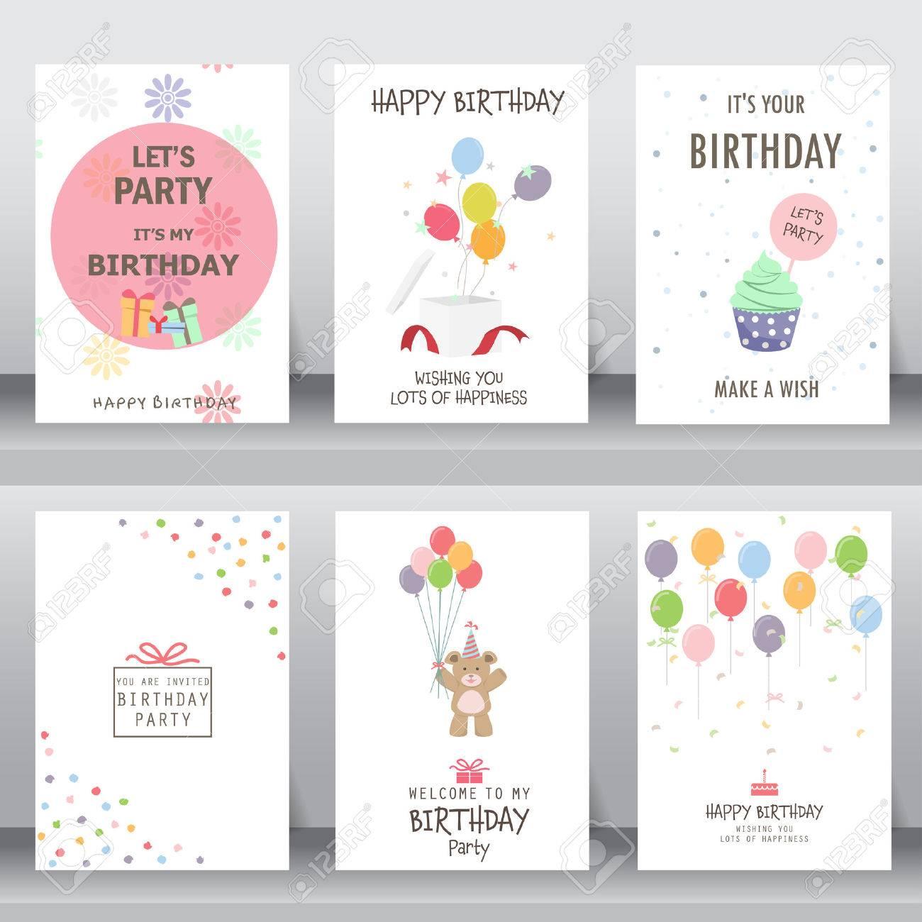 Feliz Cumpleaños Fiesta Saludo De Navidad Y La Tarjeta De Invitación Hay Tipografía Cajas De Regalo Confeti Torta Y El Oso De Peluche Plantilla