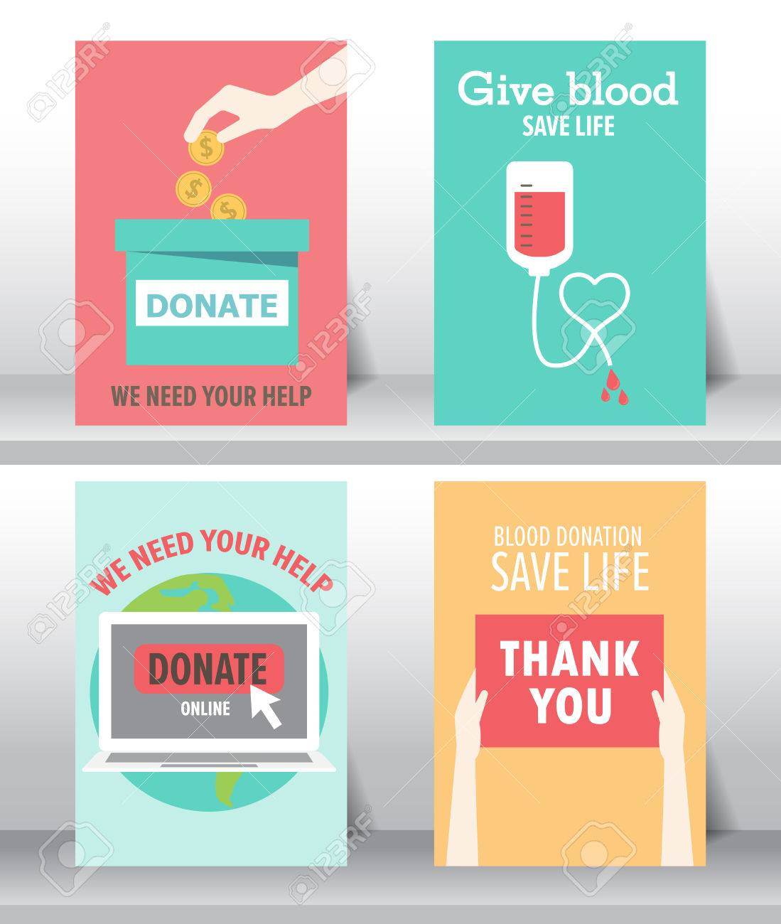 Poster design help - Vector Give And Share Your Love To Poor People Charity And Donation Poster Set Flat Design Can Be Use For Background And Invitation Card Brochure