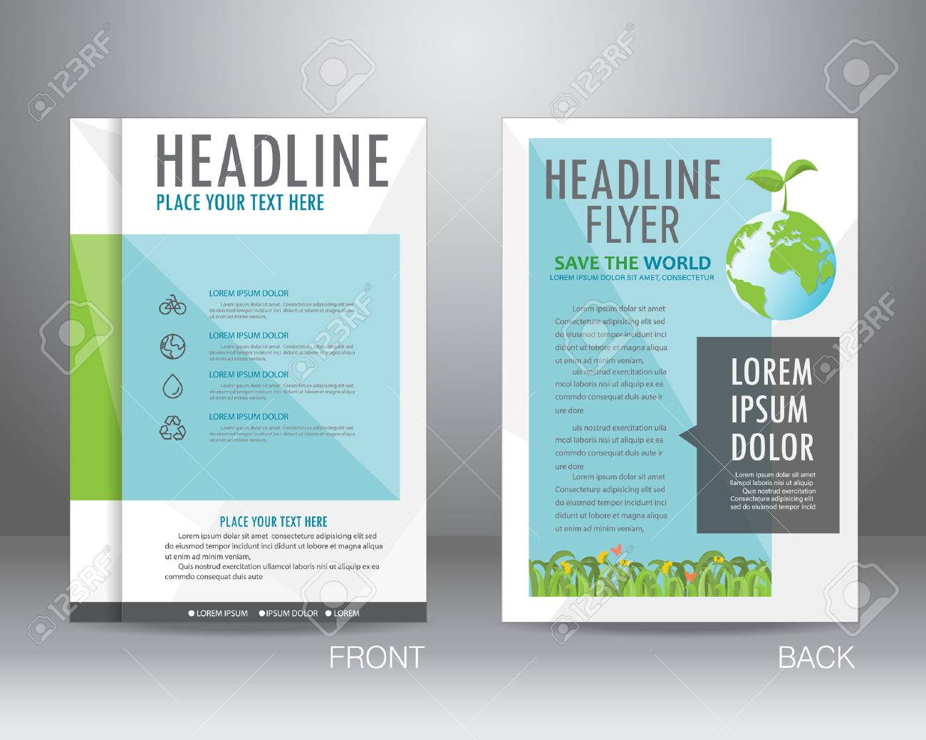 environment ecology brochure flyer design layout template in a4 sizesave the world and nature