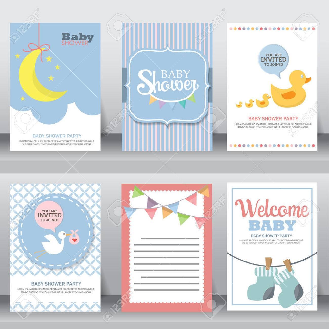 Feliz Cumpleaños Fiesta De Bienvenida Al Bebé De Saludo De Celebración Y Tarjeta De Invitación Plantilla De Diseño De Tamaño A4 Ilustración
