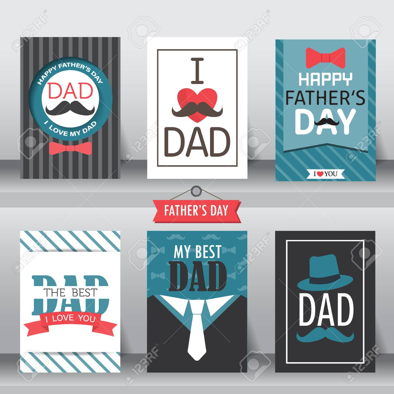 Happy S Father Day Poster Set Flat Design Can Be Use For Greeting