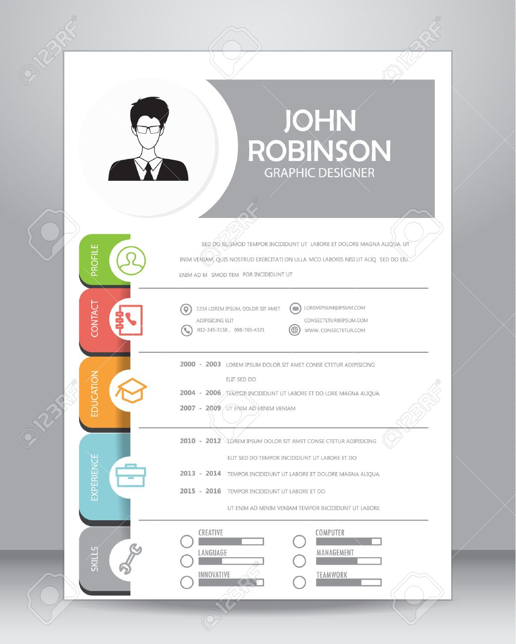 Job resume or CV template layout template in A4 size. - 58731169