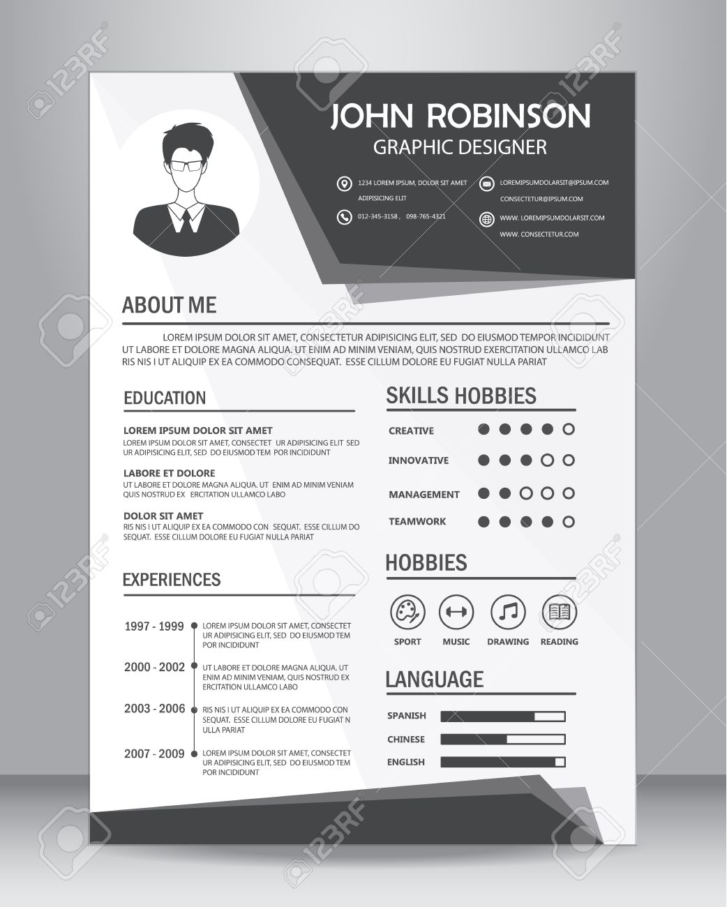 job resume or cv template layout template in a size vector job resume or cv template layout template in a4 size vector illustration stock vector