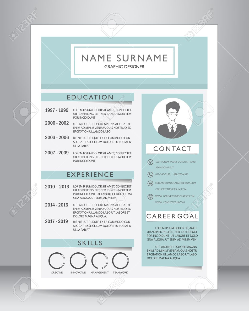 job resume or cv template layout template in a4 size vector job resume or cv template layout template in a4 size vector illustration stock vector