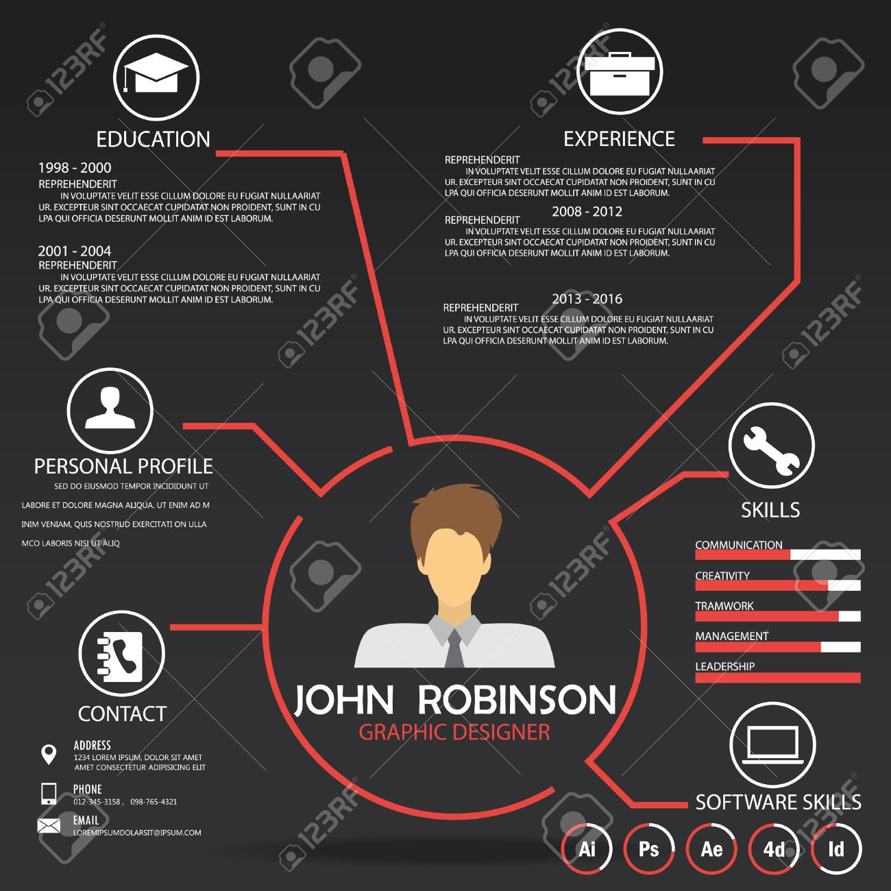 resume cv template infographics background and element can
