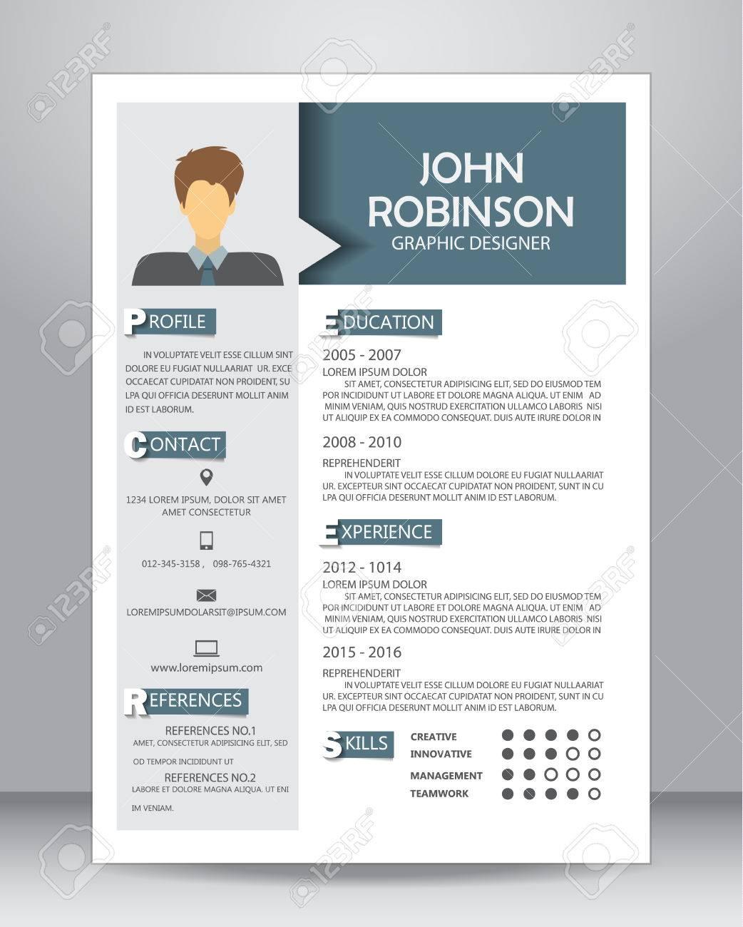 job lebenslauf oder lebenslauf layout in a4 gre vektor illustration standard bild - Lebenslauf Layout