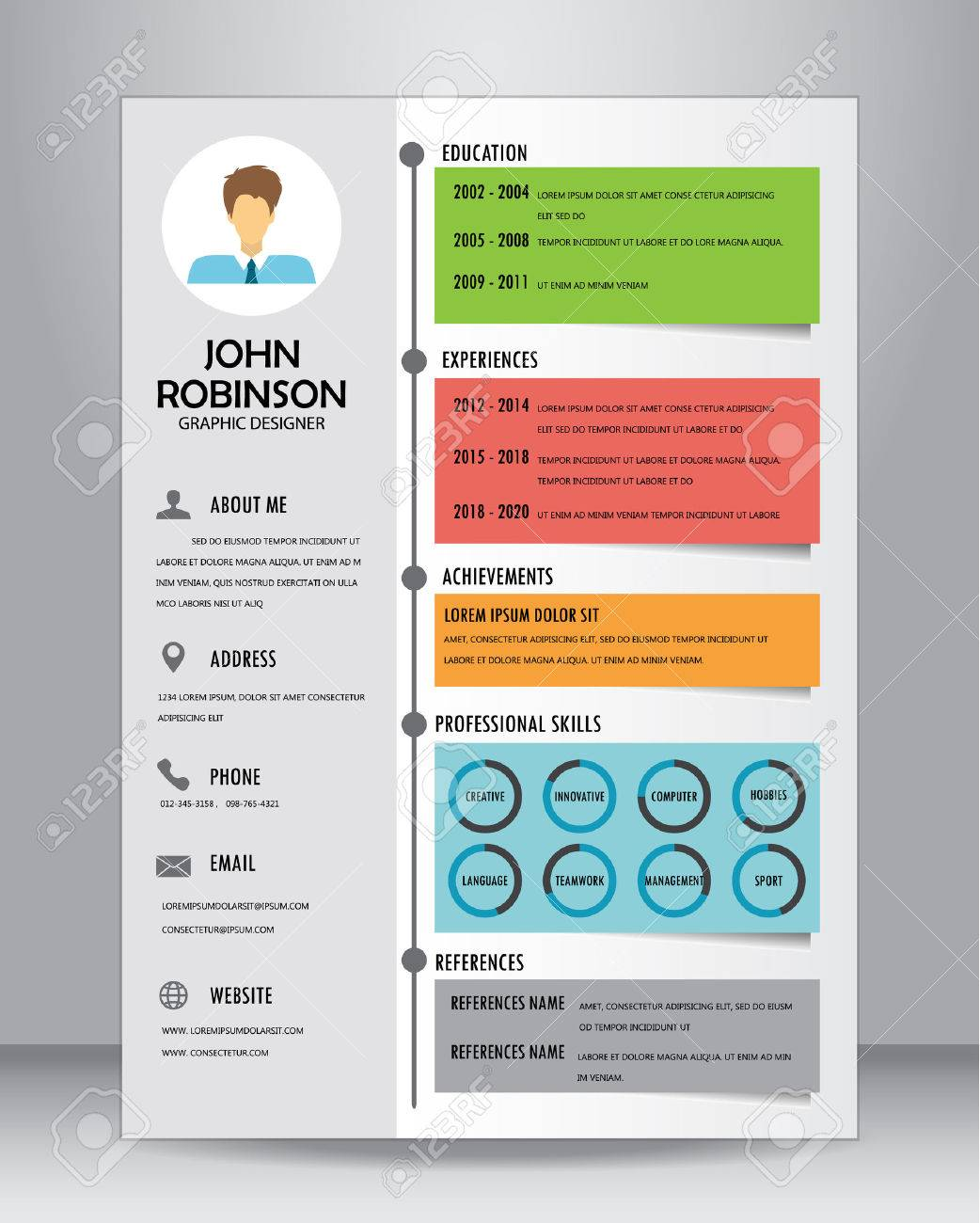 job resume or cv template layout template in a4 size stock vector 61055369