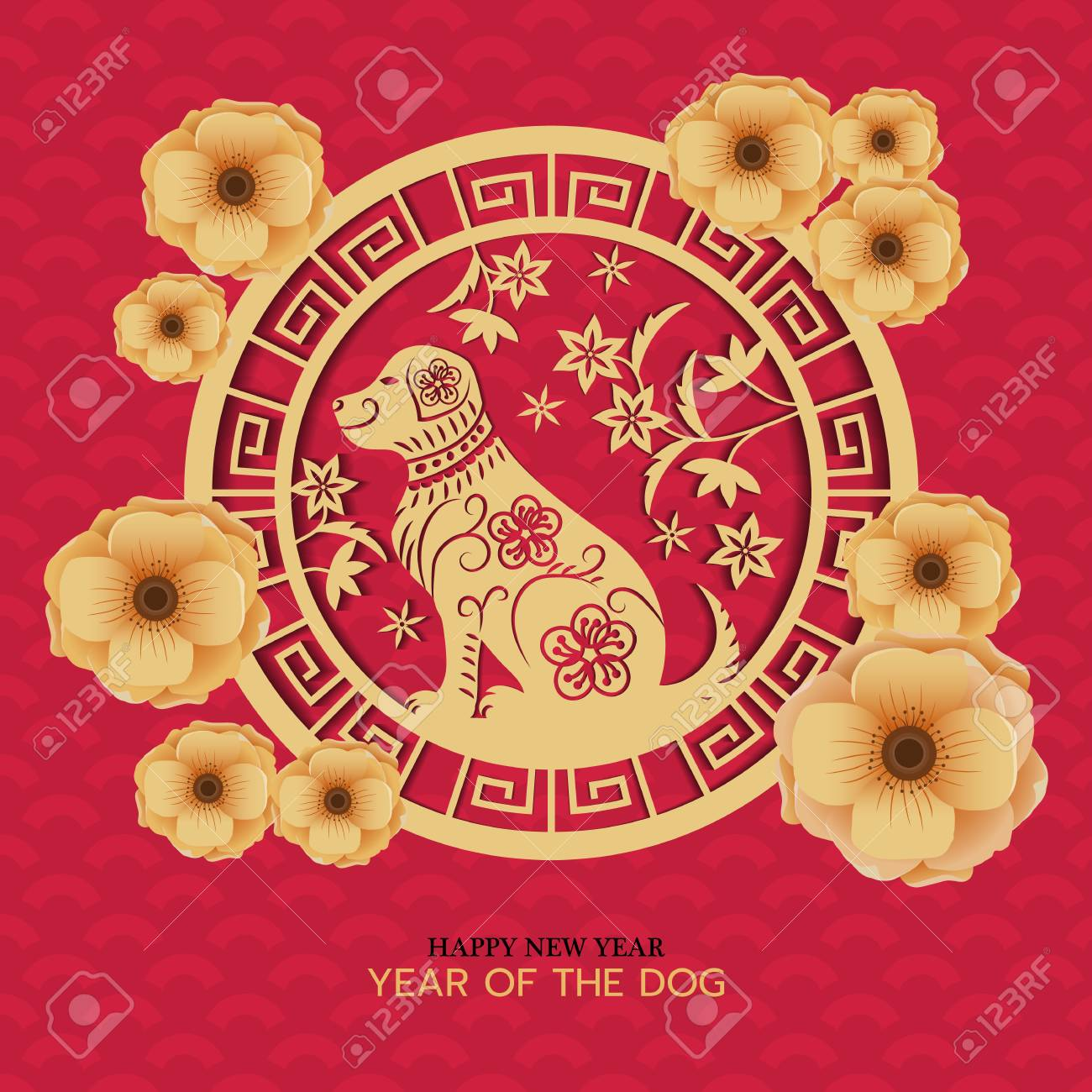 vector year of the dog chinese new year celebration artwork can be use for greeting and invitation card background backdrop vector illustration