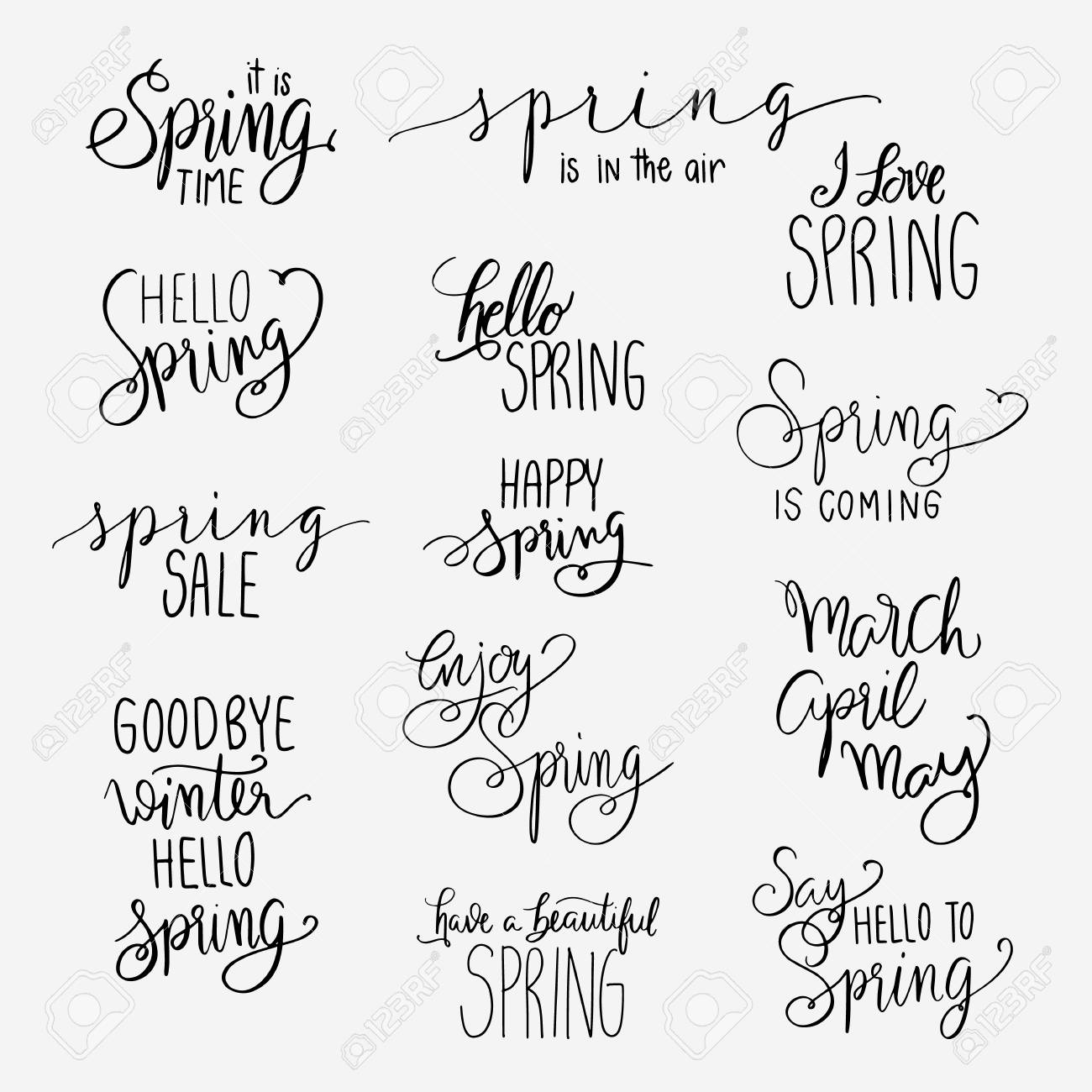 Spring Lettering Calligraphy Postcard Or Poster Graphic Design Royalty Free Cliparts Vectors And Stock Illustration Image 96680922