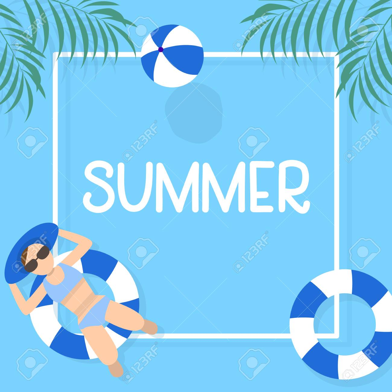 summer time background design with pool blue water and people playing ball can be use